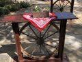 Wagon wheels event decor
